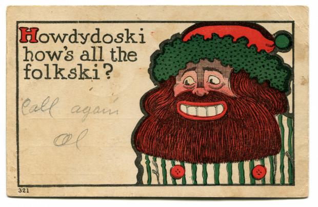 Pocztówka satyryczna z Muzeum Emigracji w Gdyni.