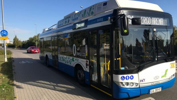 Trolejbusy, dzięki akumulatorom, dojeżdżają obecnie m.in. do Ergo Areny.