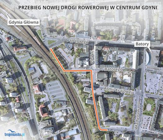 Planowany przebieg nowej drogi rowerowej w Gdyni.