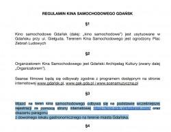 Regulamin kina samochodowego w ramach akcji Czas na Gdańsk.