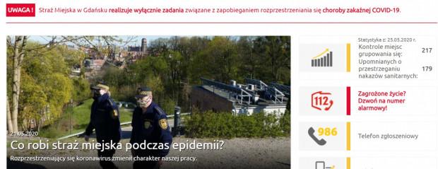 Strona główna gdańskiej Straży Miejskiej wita komunikatem, który mówi, że SM zajmuje się tylko sprawami związanymi z koronawirusem.