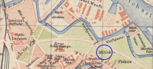 Fragment planu Gdańska z 1897 roku. Działka przy dzisiejszej ul. Wałowej 35 (zaznaczona niebieskim kółkiem) była już wykorzystywane przez wojsko. Stocznia znajdowała się po drugiej stronie opływu zlikwidowanych już bastionów.