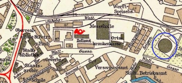 Fragment planu Gdańska z 1933 r. Działka przy dzisiejszej Wałowej 35 jest widoczna po prawej stronie, z charakterystycznym, okrągłym zarysem zbiornika na gaz. Został on rozebrany w roku 2018.