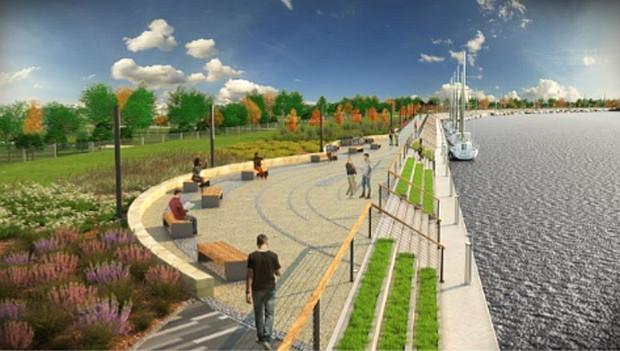 Wstępna wizualizacja nowego nabrzeża na Stogach.