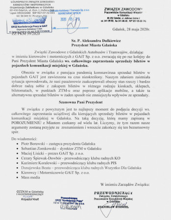 Pismo związkowców do prezydent Gdańska z wnioskiem o całkowite zaprzestanie sprzedaży biletów i karnetów w pojazdach komunikacji miejskiej w Gdańsku.