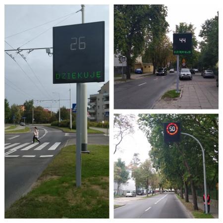 """W Gdyni drogowcy stawiają na krótkie komunikaty: """"Zwolnij"""" lub """"Dziękuję""""."""