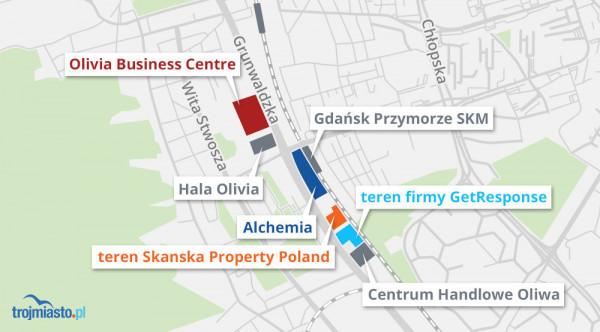 W granicach planu znajdują się grunty firm Skanska, GetResponse oraz właściciela CH Oliwa.