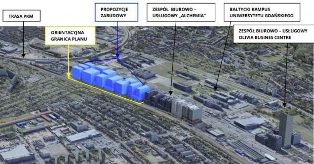 Możliwa forma zabudowy zgodna z przyjętym planem (na niebiesko).