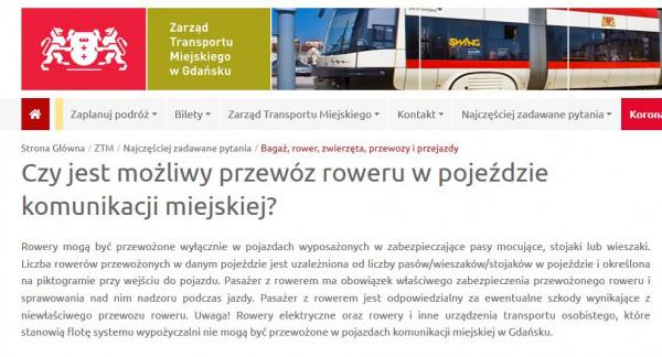 Informacja o przewozie rowerów w komunikacji miejskiej w Gdańsku, zamieszczona na stronie Zarządu Transportu Miejskiego w Gdańsku.