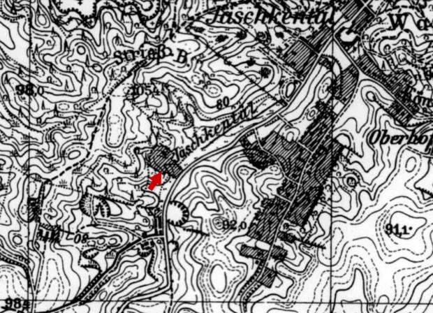 Staw na potoku Jaśkowym widoczny na przedwojennej mapie Gdańska.
