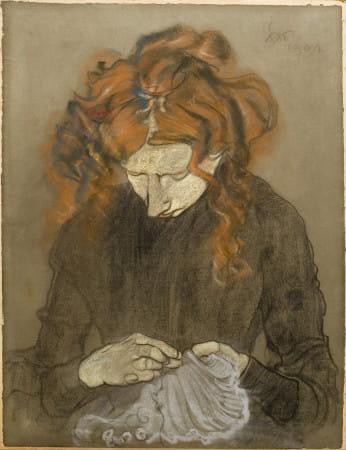 """Stanisław Wyspiański """"Portret Pani Solskiej"""" - obraz w zbiorach Muzeum Narodowego."""