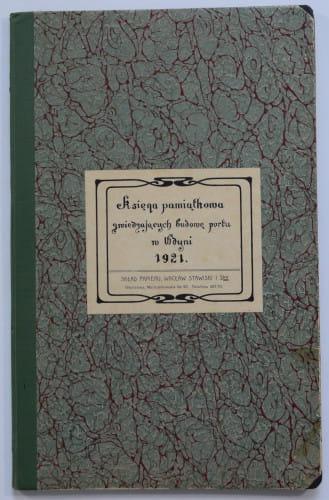 Księga pamiątkowa z budowy portu w Gdyni.