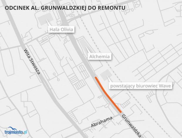 Na pomarańczowo oznaczono remontowany odcinek al. Grunwaldzkiej w Oliwie.