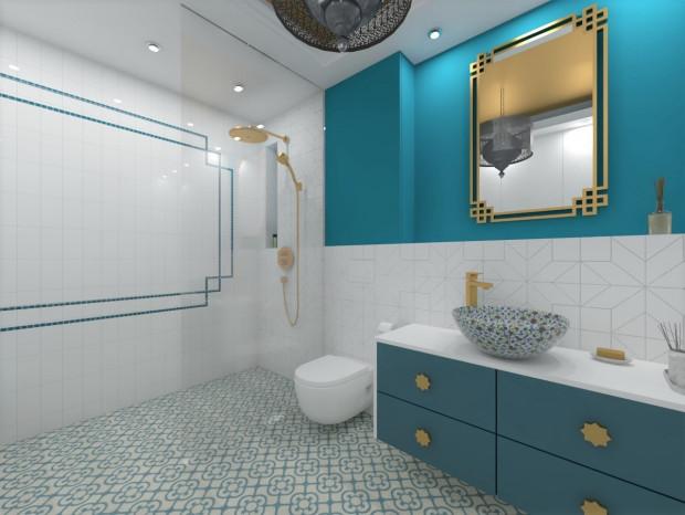 Koncepcja pierwsza. Ręcznie malowana umywalka to akcent zaczerpnięty bezpośrednio z marokańskich wnętrz. Podobnie jak uchwyty w kształcie ośmioramiennej gwiazdy.