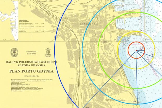 Mina morska zostanie podjęta z dna zatoki, na wysokości Kamiennej Góry. Zostanie przetransporowana w głąb zatoki i tam zdetonowana. Na grafice widoczne strefy bezpieczeństwa wyznaczone przez Urząd Morski w Gdyni.
