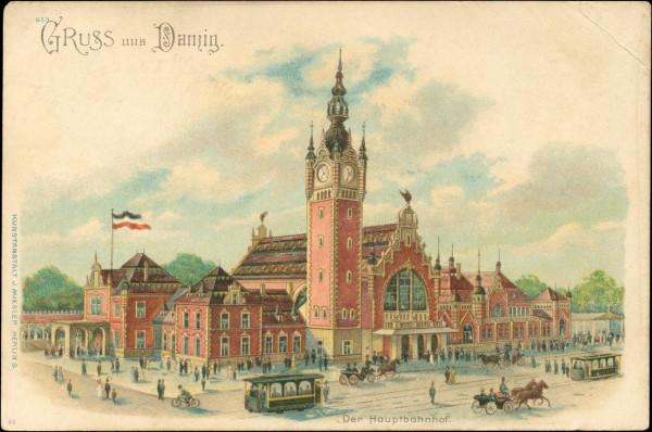 Dworzec na widokówce, wydanej wkrótce po dobudowaniu wieży.