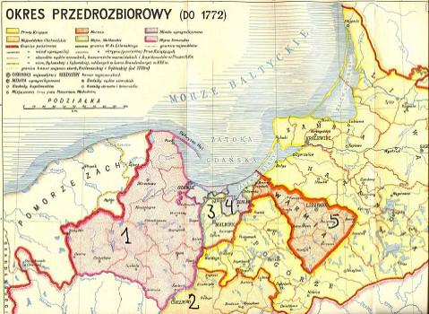 Prusy Królewskie z podziałem na województwa: 1 - pomorskie, 2 - chełmińskie, 3 - malborskie, 4 - elbląskie,  5 - Księstwo Warmińskie.