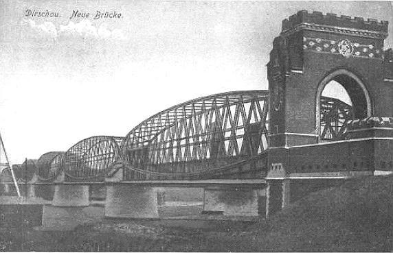 Most kolejowy w Tczewie około 1900 roku. Zdjęcie wykonane ok. roku 1900.