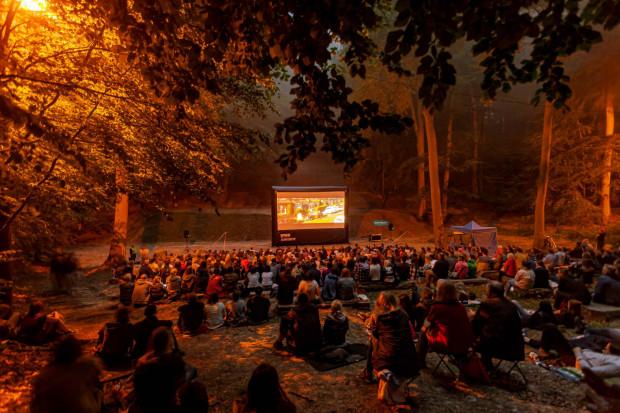 """Bilety na """"Kino po zachodzie słońca"""" w Teatrze Leśnym w cenie 12 zł do nabycia przez internet oraz 30 minut przed seansem."""