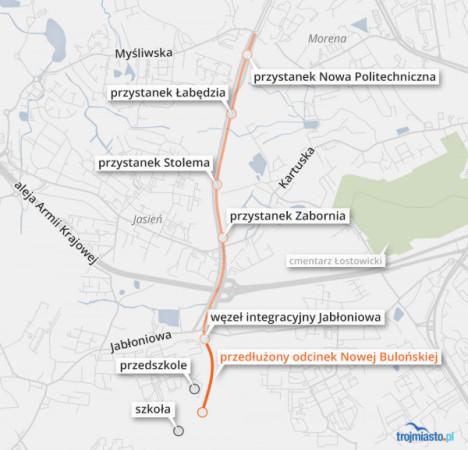Przebieg nowej trasy tramwajowej z Moreny na Szadółki