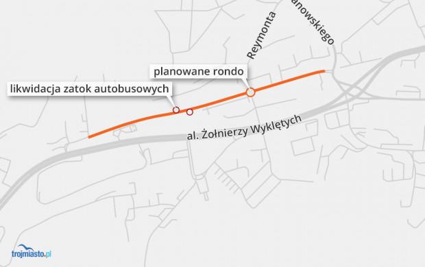 Planowany zakres remontu ul. Słowackiego.