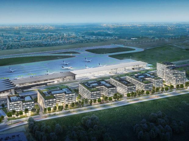 Wizualizacja Airport City na pierwszym planie. W tle powstający pirs, a na biało - planowane jego przedłużenie.