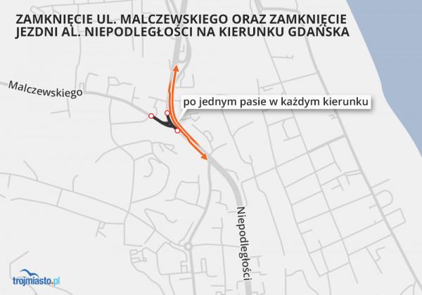 Od 1 lipca szykują się spore utrudnienia na ul. Malczewskiego i al. Niepodległości w Sopocie.
