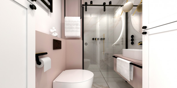 Koncepcja pierwsza. Ważnym elementem łazienki w tej odsłonie są czarne detale, które dodadzą wnętrzu zdecydowanego charakteru.