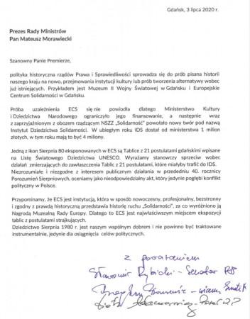 Pismo pomorskich parlamentarzystów do premiera Mateusza Morawieckiego.