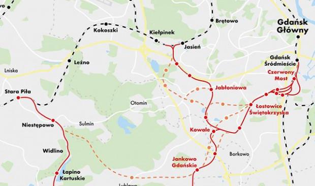 Tak wedle wstępnych założeń przygotowanych przez Biuro Rozwoju Gdańska ma wyglądać rozbudowa PKM na południe. (kliknij na zdjęcie, żeby zobaczyć całą mapę)