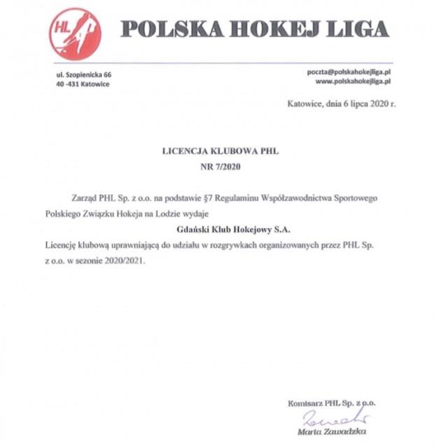 Polska Hokej Liga potwierdziła prawo gry Gdańskiego Klubu Hokejowego SA, którego 100-procentowym właścicielem jest Stoczniowiec Gdańsk.