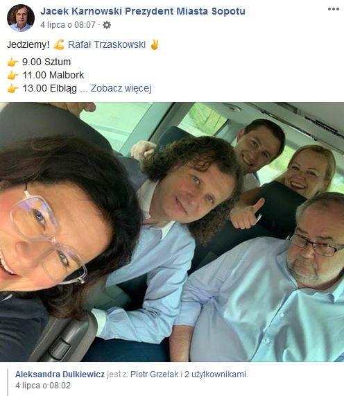 Jacek Karnowski i Aleksandra Dulkiewicz nigdy nie ukrywali swoich sympatii politycznych i oficjalnie biorą udział w kampanii wyborczej Rafała Trzaskowskiego