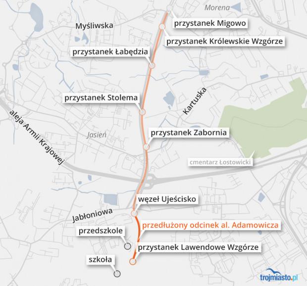 Pokonanie odcinka Lawendowe Wzgórze - Migowo zajmuje tramwajom aż 12 minut.