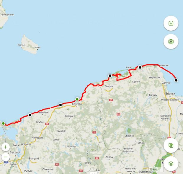 Trasa wyprawy rowerowej wzdłuż Wybrzeża