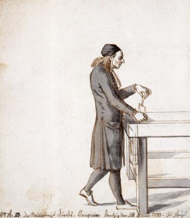 Gdański bankier i mennonita Abraham Dirksen na rycinie Daniela Chodowieckiego z 1773 r.