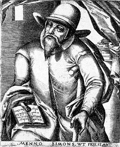 Menno Simons (1496-1561), przywódca pacyfistycznych anabaptystów, z których wielu osiedliło się w Prusach Królewskich i okolicach Gdańska.