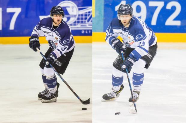 Oskar Lehmann (z lewej) i Dawid Maciejewski (z prawej) znów zagrają razem. Wcześniej występowali w Stoczniowcu jako juniorzy a później ich drogi skrzyżowały się w PKH.