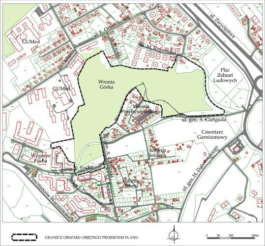 Granice obszaru objętego przystąpieniem do sporządzania nowego planu zagospodarowania przestrzennego.
