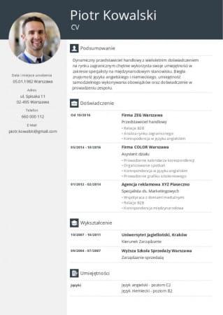 Przykładowe CV stworzone z Cvhero.com