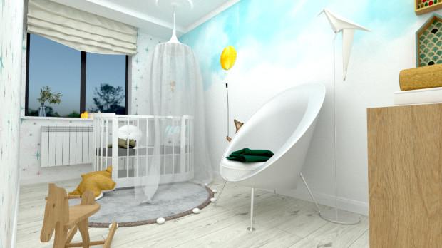 We wnętrzu znalazło się przestronne krzesło z podnóżkiem, miniaturowymi poduszkami i wygodnymi podłokietnikami.