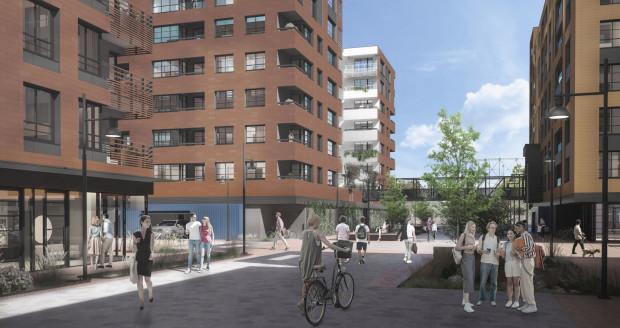 Osiedle Doki. Zielone patia budynków realizowanych w pierwszym etapie połączy kładka. Całe osiedle będzie strefą dla pieszych i rowerów.
