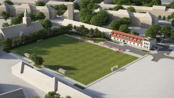 Wizualizacja boiska i wyremontowanego budynku klubowego, na których realizację deweloper ma pozwolenie.