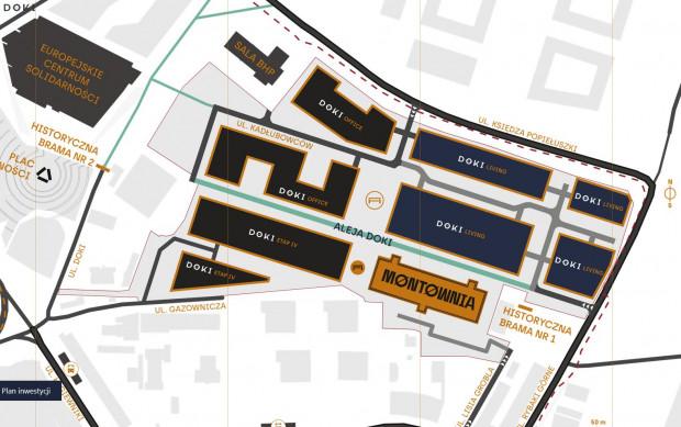 Plan zabudowy terenów stoczniowych należących do firm Euro Styl i Torus.