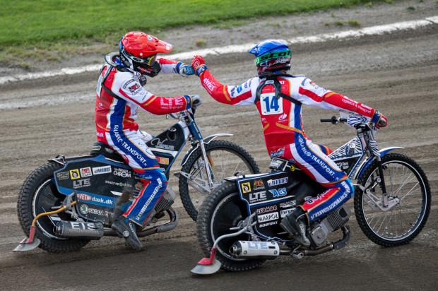 Zdunek Wybrzeże Gdańsk na Łotwie cieszyło się z pierwszej wygranej w tym sezonie. Na zdjęciu Peter Kildemand i Karol Żupiński.