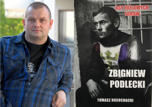Tomasz Rosochacki (z lewej), autor biografii Zbigniewa Podleckiego i okładka książki.