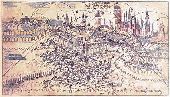 Osiemnastowieczna ilustracja pokazująca skutki rosyjskiego ataku w nocy z 9 na 10 maja 1734 r.