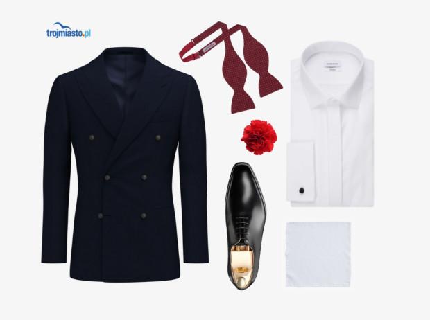 Zestaw ślubny #1 - granatowy garnitur, biała koszula i poszetka, przełamane czerwienią muchy i świeżego goździka.
