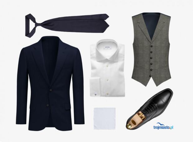 Zestaw #2 - granatowy garnitur, kontrastowa kamizelka, biała koszula, uzupełnione ciemnogranatowym krawatem i białą, lnianą poszetką.