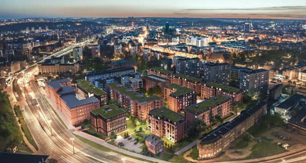 Na wizualizacji widać dwa nowe budynki, których budowa jest planowana w sąsiedztwie Czerwonych Koszar. Wykończone cegłą budynki obok to osiedle Scala.