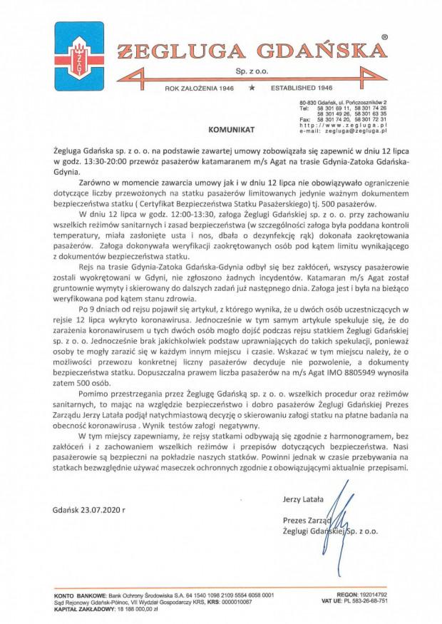 Oświadczenie Żeglugi Gdańskiej